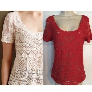 NWOT Deletta Anthropologie Embroidered Top Small